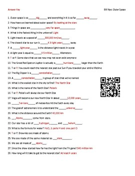Video Worksheet (Movie Guide) for Bill Nye - Outer Space QR code link