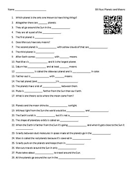 Video Worksheet (Movie Guide) for Bill Nye - Planets and Moons QR code link