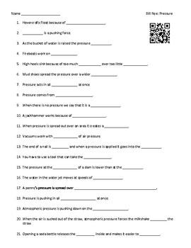 Video Worksheet (Movie Guide) for Bill Nye - Pressure QR code link