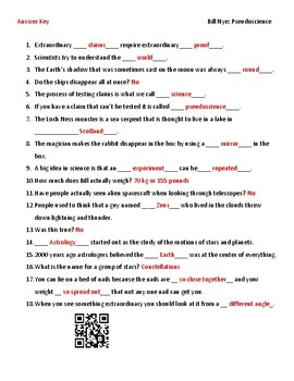 Video Worksheet (Movie Guide) for Bill Nye - Pseudoscience QR code link