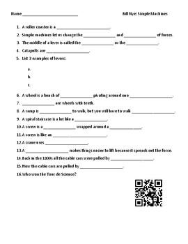Video Worksheet (Movie Guide) for Bill Nye - Simple Machines QR code link