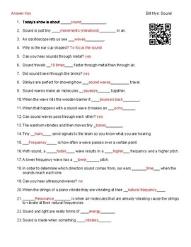 Video Worksheet (Movie Guide) for Bill Nye - Sound QR code link