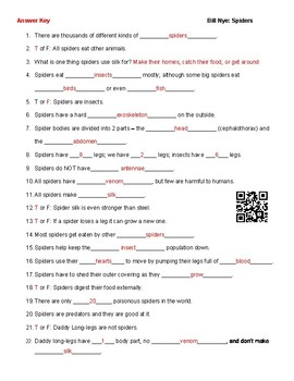 Video Worksheet (Movie Guide) for Bill Nye - Spiders QR code link