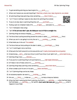 Video Worksheet (Movie Guide) for Bill Nye - Spinning Things QR code link