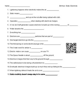 Video Worksheet (Movie Guide) for Bill Nye - Static Electricity QR ...