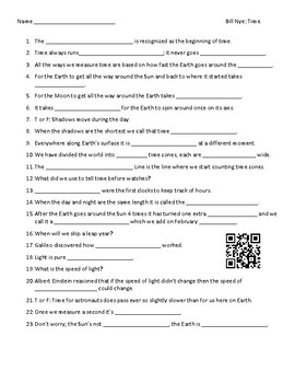 Video Worksheet (Movie Guide) for Bill Nye - Time QR code link