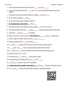 Video Worksheet (Movie Guide) for Bill Nye - Volcanoes QR code link