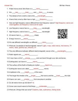 Video Worksheet (Movie Guide) for Bill Nye - Waves QR code link