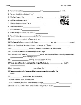 Video Worksheet (Movie Guide) for Bill Nye - Wind QR code