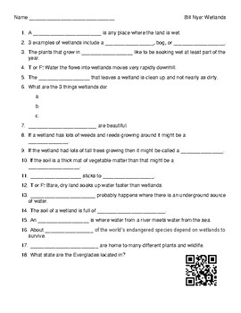 Video Worksheet (Movie Guides) for Bill Nye - Earth Science Bundle QR code links