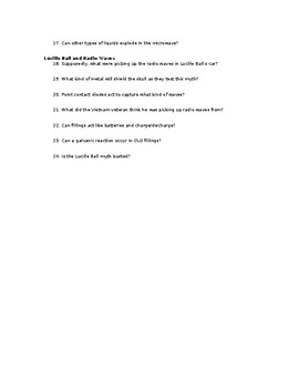 Video Worksheet - Mythbusters - Season 1 - Episode 4 by ...