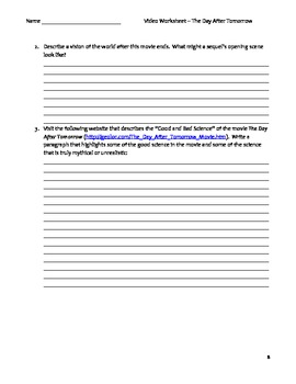 the day after tomorrow worksheet answers