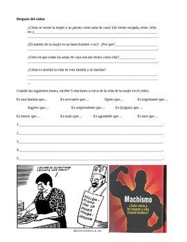 Video Worksheet - exploring Machismo in Cuba/ Subjunctive practice