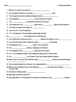 Video Worksheet (Movie Guide) for Bill Nye - Atmosphere by Seriously ...
