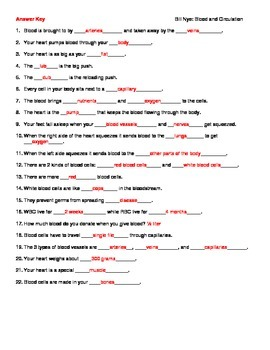 Video Worksheet (Movie Guide) for Bill Nye - Blood and Circulation