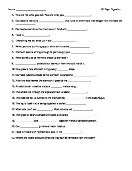 Video Worksheet (Movie Guide) for Bill Nye - Digestion by Seriously ...