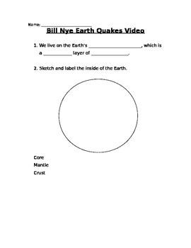 Video Worksheet for Bill Nye Earthquake video