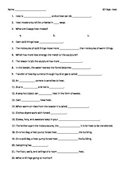 video worksheet movie guide for bill nye heat by seriously science rh teacherspayteachers com Bill Nye the Science Guy Bill Nye the Science Guy Heat