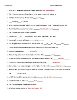 Video Worksheet (Movie Guide) for Bill Nye - Inventions