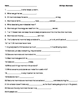 Video Worksheet (Movie Guide) for Bill Nye - Mammals