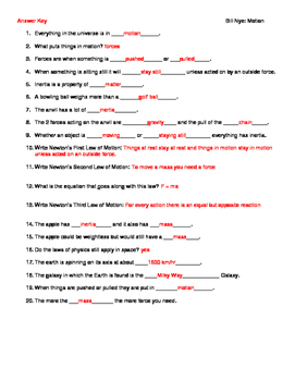 Video Worksheet (Movie Guide) for Bill Nye - Motion by ...