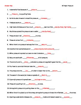 Video Worksheet (Movie Guide) for Bill Nye - Pressure