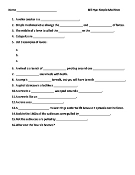 Video Worksheet (Movie Guide) for Bill Nye - Simple Machines