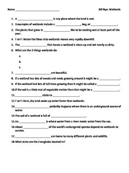 video worksheet for movie guide bill nye wetlands by seriously science. Black Bedroom Furniture Sets. Home Design Ideas