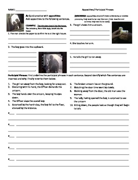 Video Worksheet for Participial Phrases and Appositives
