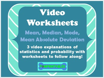 Video Worksheets! - Mean Absolute Deviation with QR Codes linked to Videos!