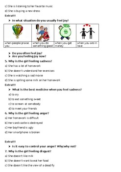 "Video worksheet for movie trailer ""Inside out"""