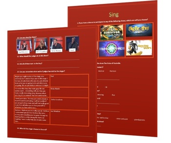 Video worksheet for the episode of Voice show