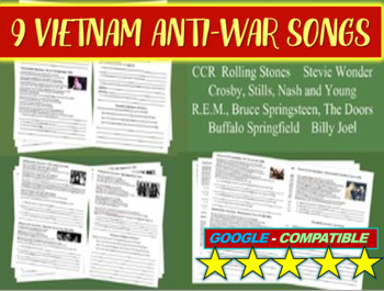 Vietnam Anti-war Song Analysis #1, #2, #3 (Doors, Stones, CSNY, REM & more)