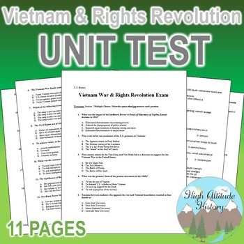Vietnam War & Rights Revolution Unit Test / Exam / Assessment