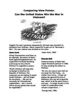 Vietnam War- Comparing ViewPoints: Can the US Win the War in Vietnam?