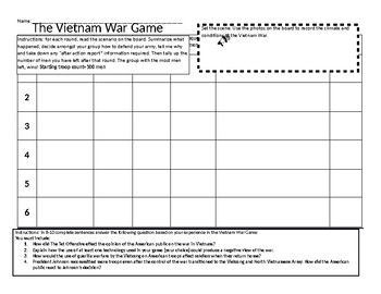 Vietnam War Conflict and Technology Game Board-Student Handout
