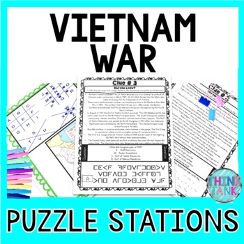 Vietnam War PUZZLE STATIONS:  Print and Go Activity