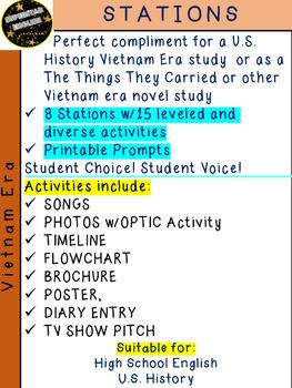 Vietnam War Era Stations Leveled Texts & Prompts English History 9th 10th 11th