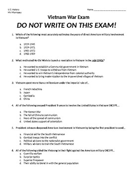 Vietnam War Exam
