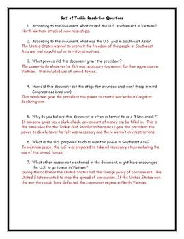 Vietnam War Gulf of Tonkin Resolution Worksheet with Answer Key