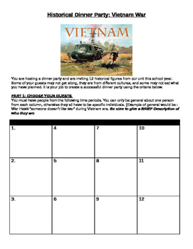 Vietnam War: Historical Dinner Party- great for key people