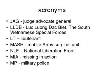 Vietnam War History Power Point - Terms, Weapons, Acronyms, and Slang