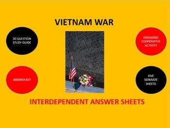 Vietnam War: Interdependent Answer Sheets Activity