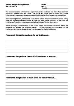Vietnam War KWL Pre-Writing Assignment