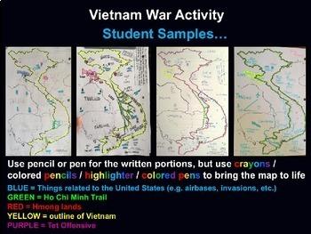 Vietnam War Map Activity - fun, easy, engaging, follow-along 50-slide PPT