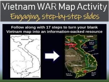 Vietnam War Map Activity - fun, easy, engaging, follow-alo