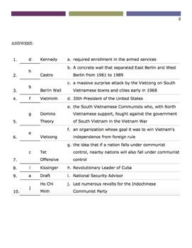 Vietnam War Matching Quiz (10 points)