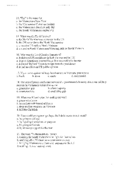 Vietnam War: Multiple choice test and key with short answer questions