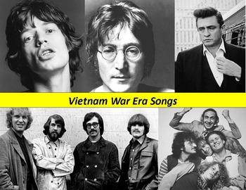 Vietnam War Music Activity:  Songs, lyrics and questions.