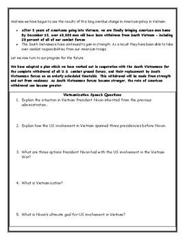 Vietnam War: Nixon and Vietnamization Worksheet with Answer Key